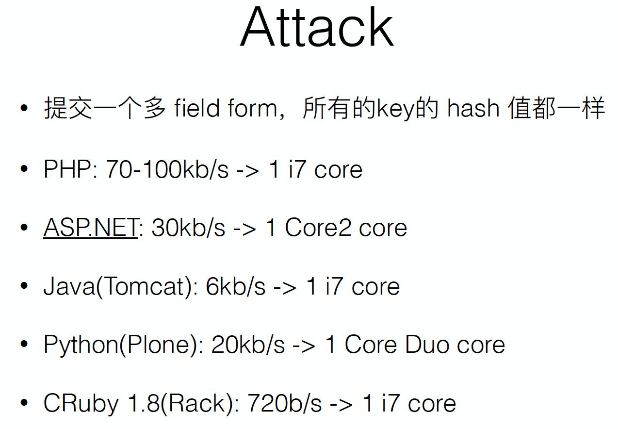 实现 hash 冲突 DoS 攻击所须带宽